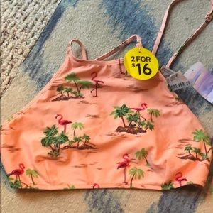 Forever 21 medium halter swim top flamingo NWT